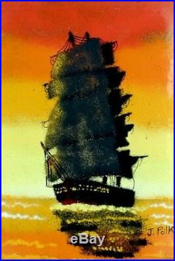 Magnificent ca. 1965 Enamel on Copper Tallship Seascape Painting withFrame Signed