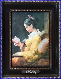 Maiden reading, Miniature on enameled copper plate (Fragonard)