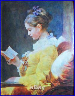 Maiden reading Miniature on enameled copper plate (according to Fragonard)
