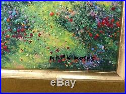 Mark Moses Enamel on Copper Painting Landscape, Signed, Framed, 8 1/2 x 12