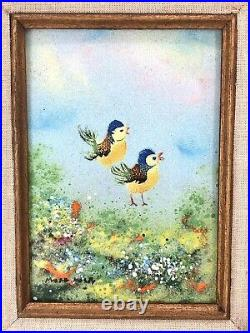 Mark Moses Original Enamel Painting on Copper Two Birds 12.5 x 15 Signed