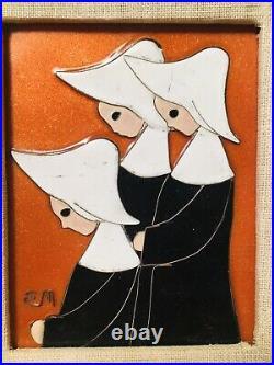 Mary Ellen McDermott ENAMEL COPPER ART PAINTING PLAQUE MID CENTURY Nuns