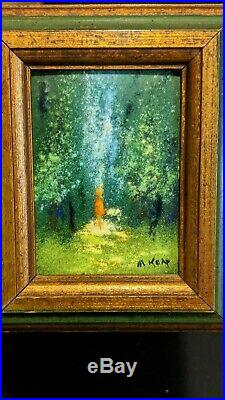 Max Karp Enamel On Copper Painting Art Landscape Miniature Child In Trees