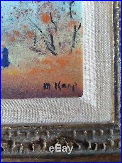 Max Karp/Enamel on Copper/Framed Art/Signed/Woman in MeadowithTrees/Original Frame