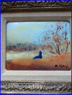 Max Karp/Original Art/Signed/Enamel On Copper/Woman in Field/Abstract/Framed