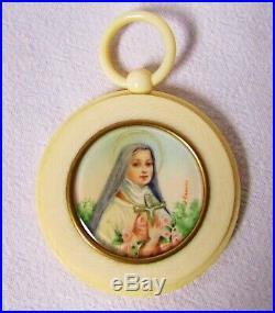 Medallion Antique Portrait Miniature Sainte-Thérèse, Medallion of Cradle