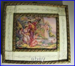 Mid-19th C. Enamel on Copper Painting in Gilt Bronze Frame c. 1850 antique