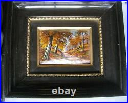 Mid Century French Enamel Painting over Convex Copper J Betourne Limoges