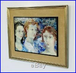 Mid Century Modern Framed Enamel Art Signed by Richard Loving Dated 1957