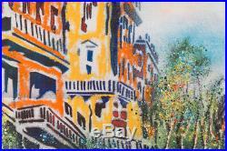Mid Century Modernist Original Enamel On Copper Paris City Scene Signed