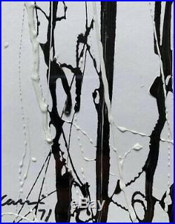 Mid Century Original Black and White Abstract Enamel Painting Signed Carrsi 1971