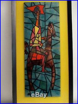 Mid-century Modern Judith Daner Conquistador on Horse Enameled Copper Painting