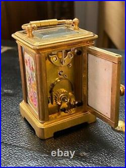 Miniature Antique Carriage Clock Enamel Painted With 2 Keys French Art Deco