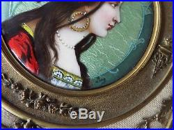 Miniature Art Nouveau Alphonse Mucha Style Enamel Painting Of A Beautiful Woman
