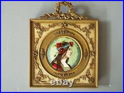 Miniature Art Nouveau Alphonse Mucha Style Enamel Painting Of A Woman