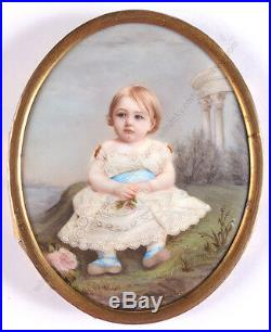 Mme Louise Lamuniere Portrait of a little child, enamel miniature, 1850s
