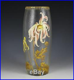 Mont Joye Art Glass Hand Painted Enamel and Gilt Vase chipped ice texture c1920