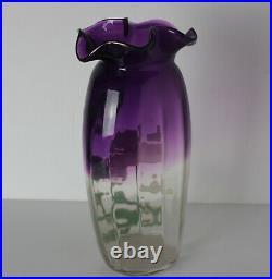 Mont Joye Art Glass Vase in amethyst, floral hand painted raised enamel, ruffled
