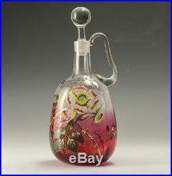 Mont Joye Cranberry Art Glass Decanter Hand painted Raised Enamel Floral Design