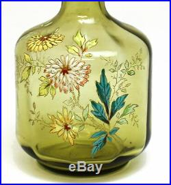 Mont Joye French Art Glass Decanter with Raised Hand Painted Enamel Flowers, c1920