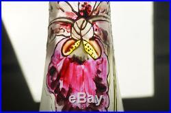 Mont Joye / Legras Art Nouveau Satin Enameled Hand Painted Iris 14 Vase C 1900