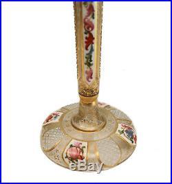 Moser Art Glass Trumpet Form Tall Bud Vase, circa 1900. Hand Painted Enamel