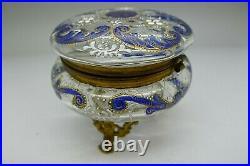 Moser Cobalt Blue & Enamel Gold Gold Ormolu Footed Art Glass Box Jeweled Paint