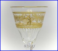 Moser Hand Painted Art Glass Goblet with White Enamel and Gilt Painted Cherubs
