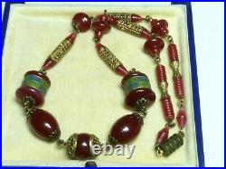 Neiger Bros Vintage Art Deco Czech glass & brass cold painted enamel Necklace