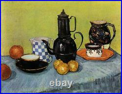 Nice Oil Vincent Van Gogh Blue Enamel Coffeepot, Earthenware and Fruit