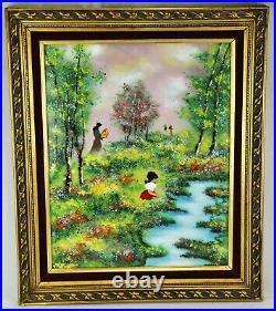 Nice Vintage Enamel on Copper Landscape Mother and Daughter Picki(BI#MK/201123)