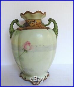 Nippon Vase With Flowers & Raised Enamel Hand Painted c 1911 Art Nouveau MINT