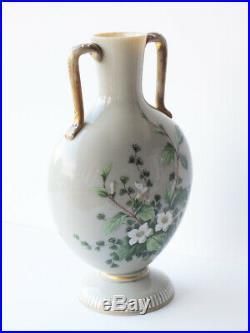 Opaline Art Glass VASE Hand Painted Enamelled Flowers & Bird Vintage Victorian