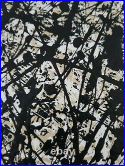 Original Abstract Action Painting On Canvas signed art decor paint enamel