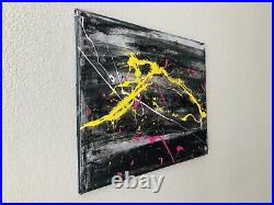 Original Abstract Enamel On Canvas Action Painting Jackson Pollock Style -No. 137