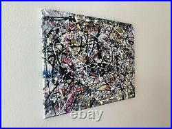 Original Abstract Enamel On Canvas Action Painting-Jackson Pollock Style-No. 25