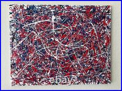 Original Abstract Enamel On Canvas Action Painting-Jackson Pollock Style- No. 89