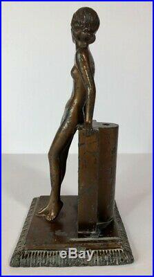 Original Art Deco Signed LORENZL Nude Cold Painted Match Striker Figure Austria
