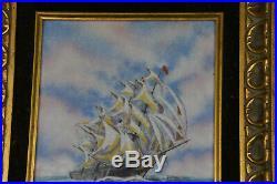Original Dominic Mingolla Enamel on Copper Schooner Boat Scene Framed (LA3890)