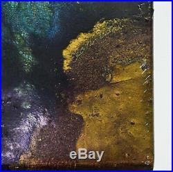 Original Elan Vital Signed Abstract Enamel Painting ISLAND BIRTH 30 X 30