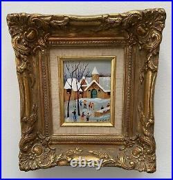 Original Enamel Copper Painting J. POLK Winter Village Belguim Beautiful Frame