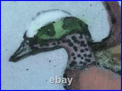Original Enamel on Copper Signed Max Karp Painting Green Wing Teal Plate 6x8