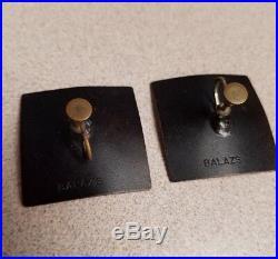 Original HAROLD BALAZS Signed Enamel on Steel vintage 1960s Sunflower earrings