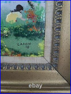 Original Louis Cardin 1978 enamel on copper painting