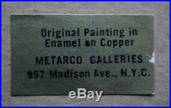 Original Mid Century Enamel on Copper Painting Signed Kaftel Metarco Galleries