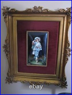 Original Signed Theophile Soyer 1853-1940 Framed French Enamel Plaque Musketeer