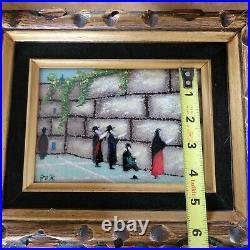 Original vintage Jewish Jerusalem Wailing Wall Enamel on Copper art painting