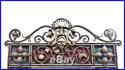 Oscar Bach, Arts & Crafts Gilt Bronze & Enamel-Painted Metal Wall Mirror, 1900s