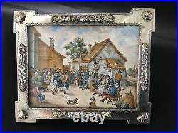 Outstanding hand paimnted miniature in Austro Hungarian silver and enamel frame