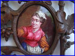 PAIR OF ANTIQUE FRENCH FRAMED ENAMEL ON COOPER PORTRAIT PAINTING, LATE 19th